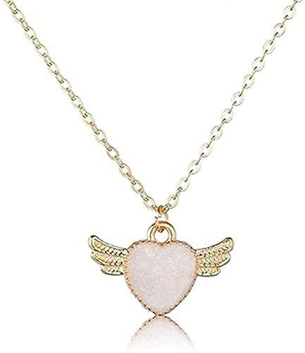 NONGYEYH co.,ltd Collar de Mujer Collar de corazón romántico con alas de ángel Pendientes y Collares para Mujer Joyería Hecha a Mano para Amantes Hermosos Collares de Boda Joyería