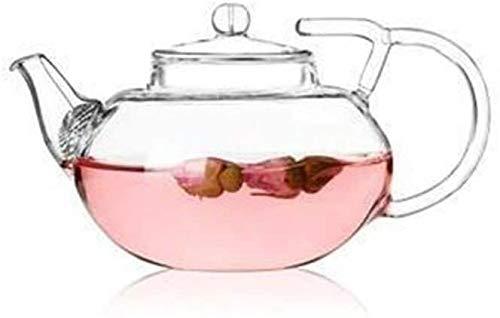 Bouilloire induction Théière en verre clair Double poignée Appuyez sur le couvercle du couvercle en verre Pots à thé en verre Thé et café 400ml pour la cuisine Home Office Outdoor WHLONG