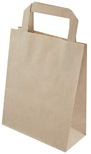 PGV - Lote de 50 bolsas de papel con asa plana (180 x 80 x 230 mm), color marrón