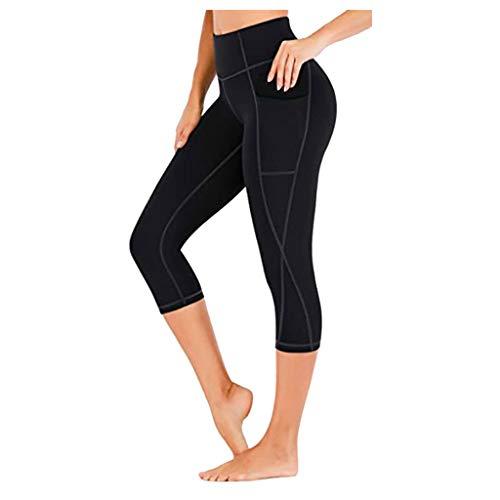2021 Nuevo Mujer Leggings Pantalones, Elásticos Mallas de Bolsillo Color sólido 3/4 Pantalones Fitness Mallas Gym Yoga Slim Fit Pantalones Alta Cintura Deportivos Running Aptitud Pantalon