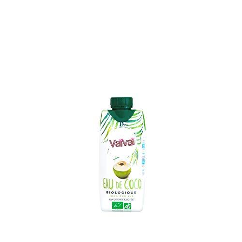 Vaïvaï - Eau de Coco Bio - 100% Pur Jus - Douce et Rafraîchissante - Sans Sucres Ajoutés - Brique Tetra Pak de 33cl