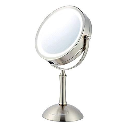 Espejo de maquillaje iluminado Ovente, iluminación LED fría, aumento 1x/8x, espejo de cambiador…