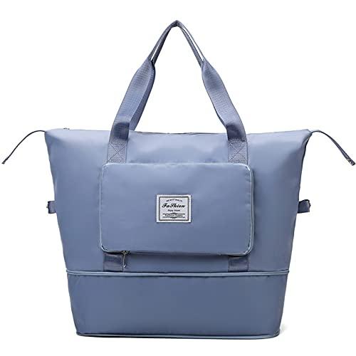 XCOVIE Bolsa de viaje plegable de gran capacidad, bolsa de viaje plegable, separación seca y húmeda, bolsa de equipaje de transporte (azul)