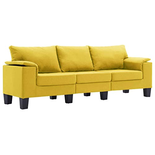 vidaXL Sofá de 3 Plazas Asiento de Sillón Salón Descanso Relajante de Suave Muebles de Hogar Oficina Estable y Duradero Tela Amarillo