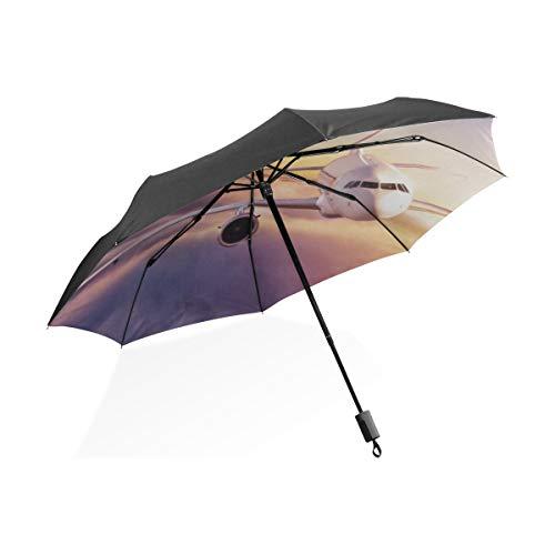 Totes Regenschirm Für Frauen Flugzeug Im Himmel Bei Sonnenaufgang Tragbare Kompakte Taschenschirm Anti Uv Schutz Winddicht Outdoor Reise Frauen Winddicht Regenschirm Groß