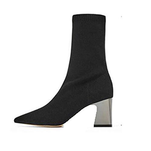 Frauen Spitze Zehen Kurze Stiefel Slip-on Socken Stiefel Blockabsatz Mittelschlauch Elastische Stiefel Pumps Damen High Heels