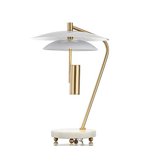 Dltmysh Lámpara de Mesa Dormitorio de Noche Artes Lujoso luz Una Sala de Estar de Escritorio de diseño de lámpara de Escritorio (Emitting Color : Button Switch, Lampshade Color : E Gold White)
