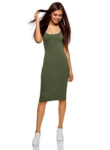 oodji Ultra Mujer Vestido-Camiseta de Tirantes de Punto, Verde, ES 40 / M