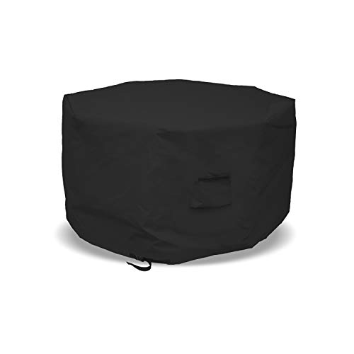 Octagon Fire Pit Cover 12 Oz Waterproof - 100% UV & Weather Resistant Outdoor Fire Pit Table Cover with Air Pocket & Drawstrap for Snug Fit (20' H x 42' D, Black)