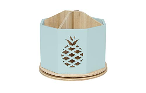 Spinning Desktop Stationary Organizer – Decorative Wooden Rotating Pen and Pencil Cup – Desk and Table Top Office Supplies Station - by Designstyles (Sky Blue Pineapple Cutout)