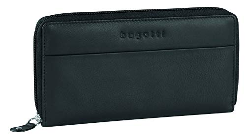 Bugatti Horizon Geldbörse Damen Groß viele Fächer Leder – Frauen Geldbeutel mit Reißverschluss Lang – Damengeldbörse Langbörse Portemonnaie im Querformat, Schwarz