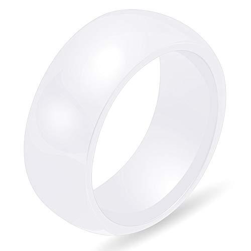 NRJZSS 3 Farbe 8mm poliert Keramik Ringe für Männer Frauen Engagement Eheringe Schmuck Zubehör Online-Shopping 6 weiß
