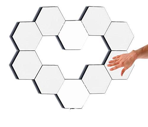 Lâmpadas de parede de toque, lâmpada inteligente, luzes de jogos, luzes hexagonais modulares, favo de mel, Helios, painéis de luz de toque (embalagem com 10)