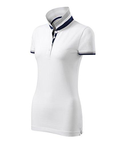 Adler Modisches Damen Poloshirt Collar Up - Super Premium Stoff & Shirt Schnitt | 100% Baumwolle | S - XXL (257-Weis-L)