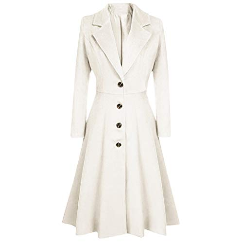 iYYVV Womens Winter Lapel Button Long Trench Coat Jacket Overcoat Hairy Dress Outerwear White