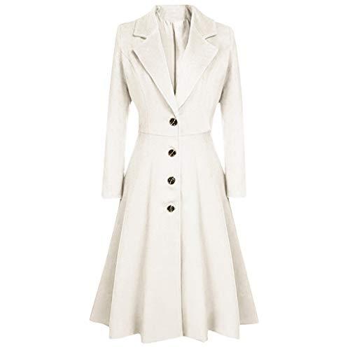Blazer Kleid Damen Lang Woll Jacke Mantel mit KnöPfen,Kanpola Elegant Blusenkleid Herbst Winter Business Blazermantel