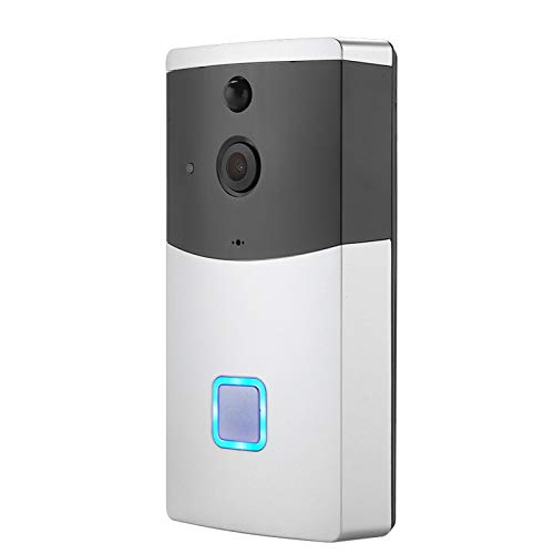 Timbre inalámbrico, Detector de movimiento PIR Timbre de visión nocturna, Timbre de teléfono Intercomunicador Timbre de video gran angular de 145 °, para iOS/Android doméstico