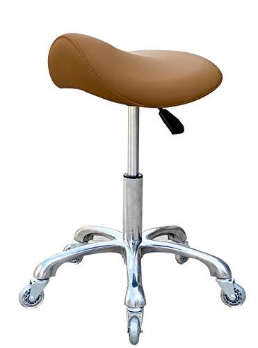 FRNIAMC Taburete profesional con ruedas ergonómico giratorio de altura ajustable para clínica, dentista, salón de belleza, tatuaje, oficina en casa (camel)