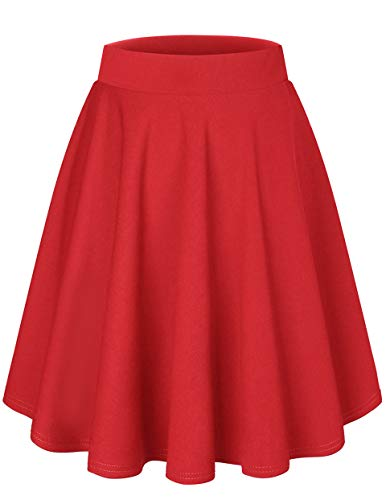 DRESSTELLS Damen Basic Solide Vielseitige Dehnbar Informell Mini Glocken Rock Red-Midi M
