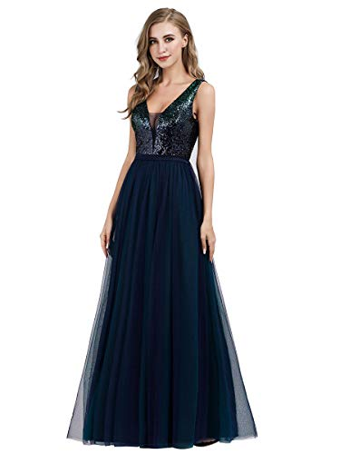 Ever-Pretty Vestido de Noche Maglia Lentejuela sin Respaldo Fiesta Nocturna cóctel para Mujer 07910