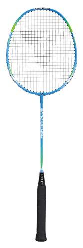 Talbot Torro 429808 Raqueta de Badminton Fighter Plus, Sistema de Manija Airflex y Perfil del Marco Powerwave para una Mejor Acceleración de la Bola, Azul/Verde