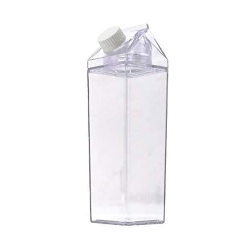 Cabilock 2Pcs Klare Wasserflasche Wiederverwendbare Milchkarton Wasserflasche Kunststoff Limonade Saft Getränk Glas Eistee Flasche 500Ml Reise Outdoor-Lieferungen 1Pc