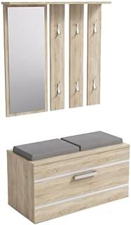 ADGO Ensemble de meubles de couloir opale 3 en 1 avec armoire, miroir et cintre et armoire à chaussures, garde-robe, gard...