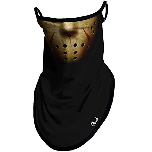 Obacle Bandana Face Mask with Ear Loops Neck Gaiter Face Mask Scarf Face Cover for Men Women (Skull Hole Black Yellow)