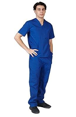 M&M SCRUBS Men Scrub Set Medical Scrub Top and Pants XXXL Dark Royal Blue