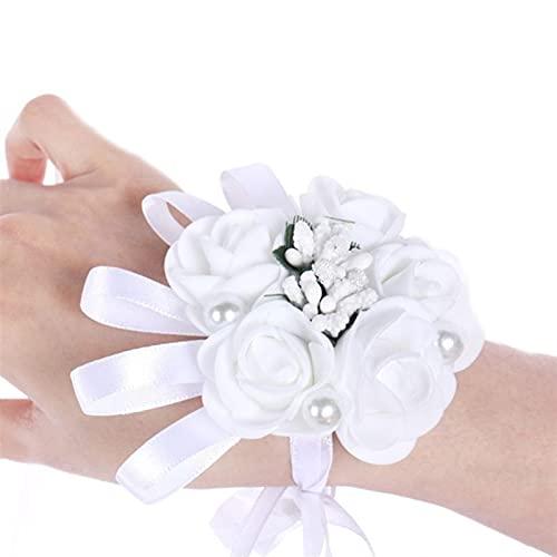 sdfpj Mujer Dama de Honor Chicas Boda Blanco muñeca Corsage Artificial Rosa muñeca Flor imitación Perla joyería Pulsera decoración de Fiesta de Fiesta