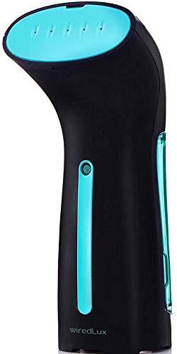 WiredLux Plancha Vertical Vapor - Plancha Vapor de Ropa Ligera y Portátil - Vaporizador Listo en 25 Segundos y 100% a Prueba de Fugas - Planchado Rápido y Fácil - Accesorios de Viaje incluidos (Negro)