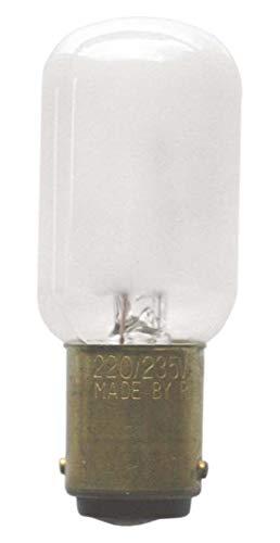 S+H Nählichtlampe 22x57mm Sockel BA15d 220-235 Volt 15 Watt imatt