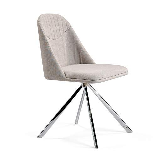 Angel Cerdá | Sedia da pranzo girevole rivestita in tessuto, gambe in acciaio cromato, stile moderno