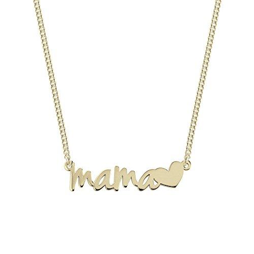 SINGULARU ® - Collar Mamá Heart Oro para Mujer Plata de Ley 925 con baño de Oro de 18k - Joyas mujer