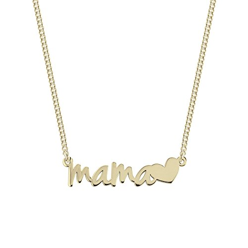 SINGULARU  - Collar Mamá Heart Oro para Mujer Plata de Ley 925 con baño de Oro de 18k - Joyas mujer