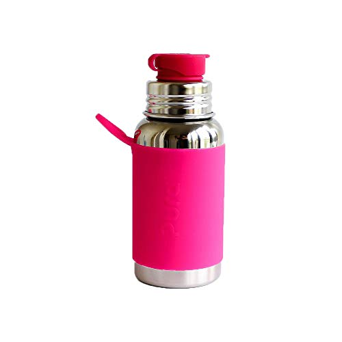 Borraccia sportiva in acciaio inox con silicone Sport Top, 550 ml, senza plastica, colore: rosa