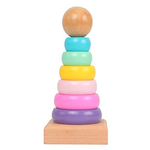 Toyvian Torre apilable, arco iris, bloques de construcción de madera, juego apilable, colores y formas, juego de clasificación de bebé, juguete de madera, juguete de motricidad, 1 juego