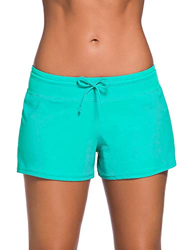 SATINIOR Women Swimsuit Shorts Tankini Swim Briefs Plus Size Bottom Boardshort Summer Swimwear Beach Trunks for Girls (Green, XXXL)