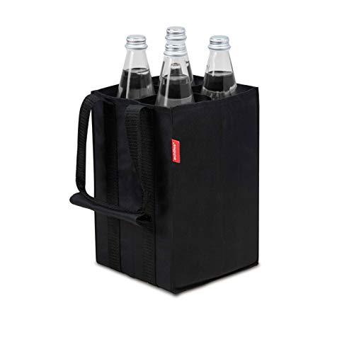 achilles 4er Bottle-Bag, Flaschentasche für 4 x 1,5 Liter Flaschen, Tragetasche mit Trennwände, Flaschenträger in schwarz, 17cm x 17cm x 27cm