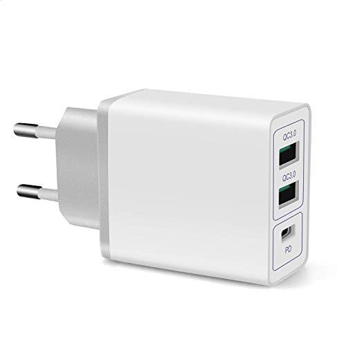 2QC+PD USB C Ladegerät 36W Quick Charger SchnellladegerätNetzteil Adapter,Dual QC3.0 2.0 PD Smart USB Netzteil Adapter Ladegerät für Samsung iPhoneiPad Huawei Google usw