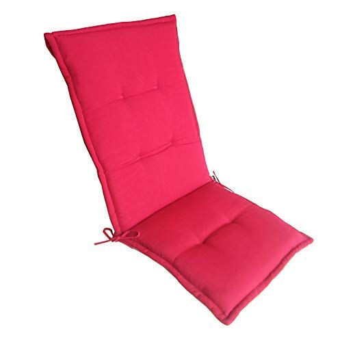 eewopjkj Cojines para silla de patio, respaldo alto, cojín grueso para asiento reclinable de jardín, impermeable, para interiores y exteriores, color rojo