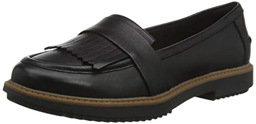 Clarks Damen Raisie Theresa Mokassin, Schwarz (Black Leather Black Leather), 42 EU