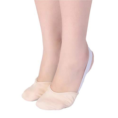 Milisten Sapatilha de balé para treino de balé sapatilhas de ioga, sapatos folklorico sapatos pirueta dança meia sola sapatos de giro lírico para balé jazz tamanho P (branco)
