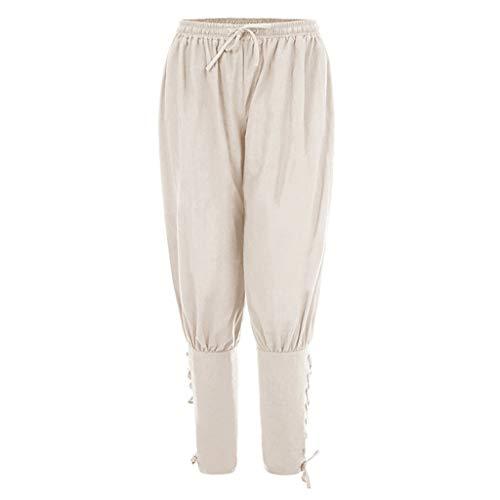 JOYKK Pantalones de Tobillo renacentistas Medievales para Hombre Pantalones Piratas de Cosplay con Bandas - Blanco - 2XL