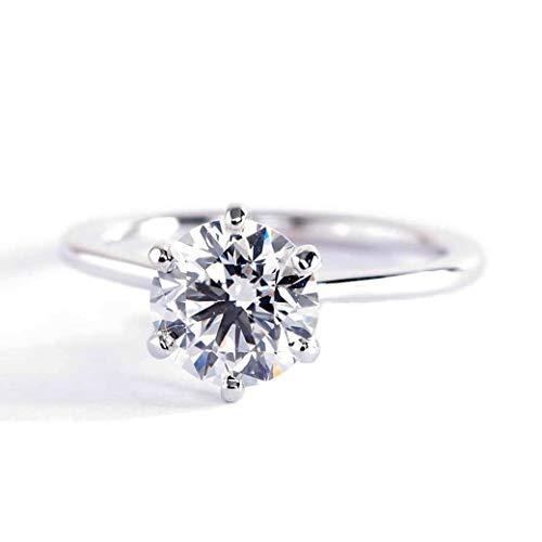 Anillo de compromiso de oro blanco de 18 K con diamante solitario de 1,00 quilates SI2 D, corte redondo, tamaño pequeño y solitario de 1 quilate