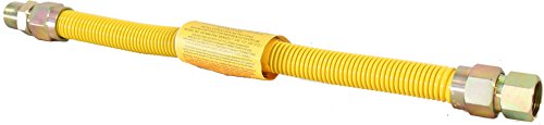 Duratrac Yellow Coated Stainless Steel 3/4' MIP x 3/4' FIP Full Flow (1' OD) Gas Flex Connector (24')