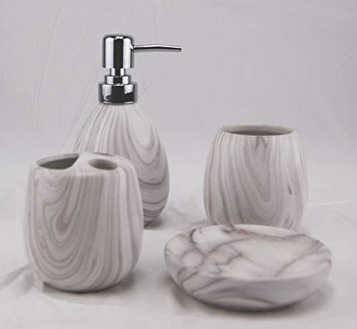 Homevibes Set di accessori per bagno, set da bagno in ceramica, set da bagno completo, 4 pezzi, composto da portasapone, dispenser di sapone, porta spazzola e bicchiere