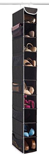 ZOBER 10-Shelf Hanging Shoe Organizer 1 Pack Hanging Closet Shoe Organizer with Side Mesh Pockets Space Saving Shoe Holder Storage Closet Organizer Great for Shoes Purses Handbags Etc