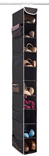 "ZOBER 10-Shelf Hanging Shoe Organizer, Shoe Holder for Closet - 10 Mesh Pockets for Accessories - Breathable Polypropylene, Black - 5 "" x 11 ½"" x 52"""