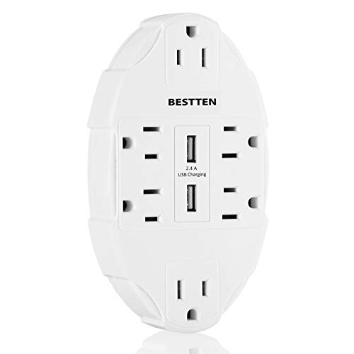 BESTTEN 6-Outlet Surge Protector with Dual USB Charging Ports (3.1 Amp in Total), Wall Tap Adapter, ETL Listed, White